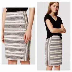 Loft Mosaic Stripe Textured Pencil Skirt
